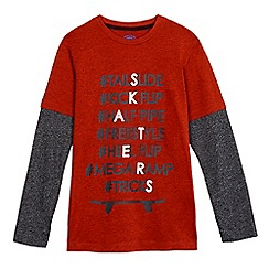 bluezoo - Boys' dark orange skateboard print long sleeved top