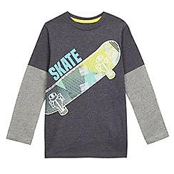 bluezoo - Boys' grey reflective skateboard print top
