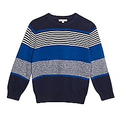 bluezoo - Boys' blue textured striped print jumper