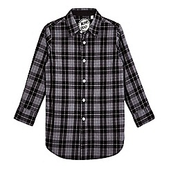 bluezoo - Boys' black and grey checked woven longline shirt
