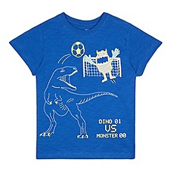 bluezoo - Boys' blue 'dino vs monster' applique t-shirt