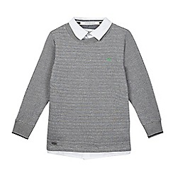 J by Jasper Conran - Boys' grey textured striped mock jumper