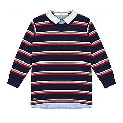 J by Jasper Conran - Boys' navy striped mock jumper