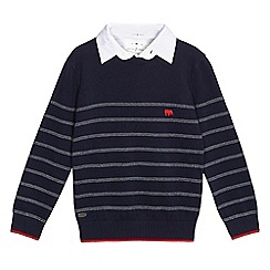 J by Jasper Conran - Boys' navy textured striped mock jumper
