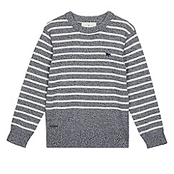 J by Jasper Conran - Boys' navy and cream twisted knit jumper