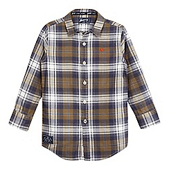 Mantaray - Boys' khaki checked herringbone woven shirt