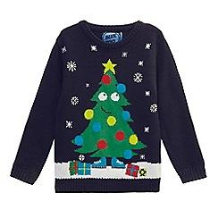 bluezoo - Boys' navy light up Christmas jumper