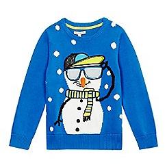 bluezoo - Boys' blue snowman Christmas jumper