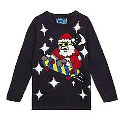 bluezoo - Boys' black light up Santa jumper