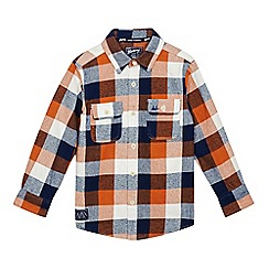 Mantaray - Boys' orange and navy textured checked shirt