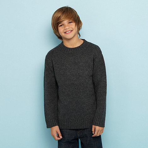 bluezoo - Boy+s dark grey lambswool blend jumper