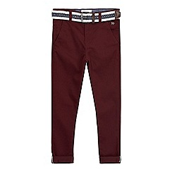 J by Jasper Conran - Boys' dark red belted textured trousers