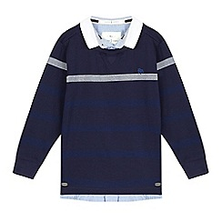 J by Jasper Conran - Boys' navy single stripe mock sweater