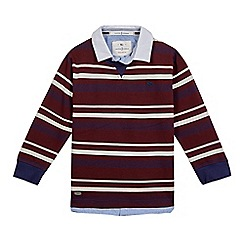 J by Jasper Conran - Boys' burgundy stripe mock shirt and jumper top