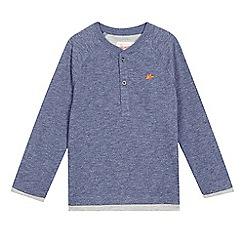 Mantaray - Boys' blue textured mock sleeve top