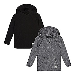 bluezoo - Pack of two boys' plain black and fine striped longer line hoodies