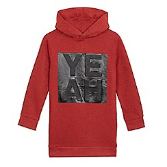 bluezoo - Boys' red 'Yeah' embossed hoodie
