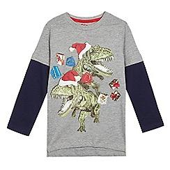 bluezoo - Boys' grey Christmas themed dinosaur print t-shirt