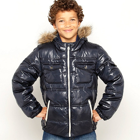 Red Herring - Boy+s navy shiny jacket