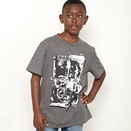 Boys dark grey crew neck graphic tee