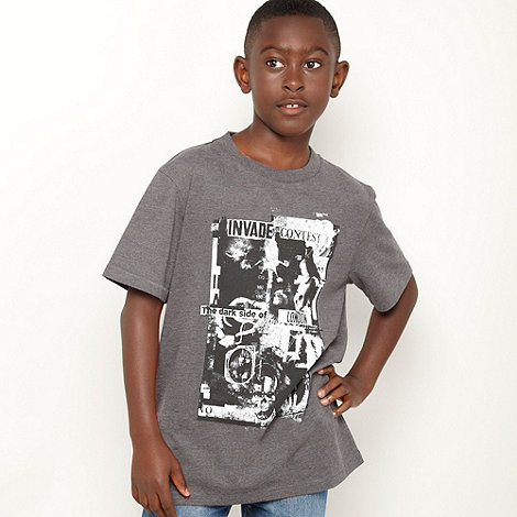 Red Herring - Boys dark grey crew neck graphic tee