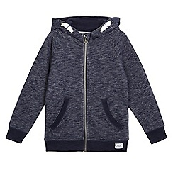 bluezoo - Boys' navy textured zip through hoodie
