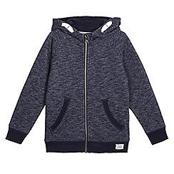 bluezoo - Boys' navy textured zip through hoodie