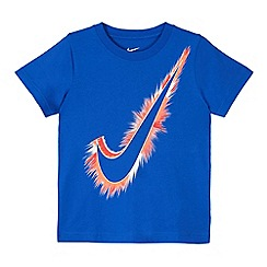 Nike - Boys' blue short sleeve swoosh logo shirt