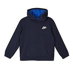 Nike - Boys' navy long sleeve logo hoodie