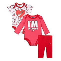 Nike - Baby girls' red Nike three piece set