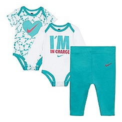 Nike - Pack of two baby girls' turquoise and white printed bodysuits and leggings