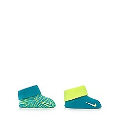 Nike - Baby boys' yellow and turquoise marl print booties