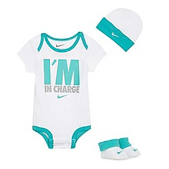 Nike - Baby boys' white 'I'm In Charge' three piece set