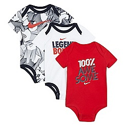 Nike - Baby boys' pack of three white and red printed bodysuits
