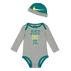Nike - Baby boys' grey 'Just do it' print bodysuit and hat set