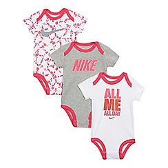 Nike - Pack of three baby girls' pink white and grey bodysuits