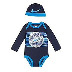 Nike - Baby boys' navy football print bodysuit and hat set
