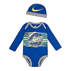 Nike - Baby boys' blue football print bodysuit and hat set