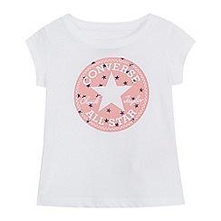 Converse - Girls' white Converse All Star print cap sleeve top
