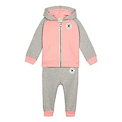 Converse - Baby girls' grey and pink logo applique hoodie and jogging bottoms set