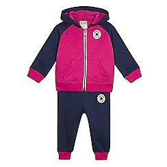 Converse - Baby girls' pink and navy hoodie and jogging bottoms set