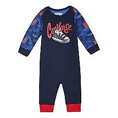 Converse - Baby boys' navy trainer print romper suit