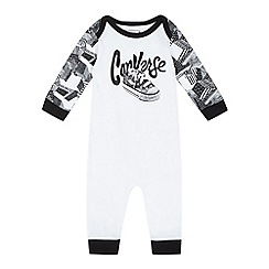 Converse - Baby boys' white trainer print romper suit