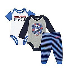 Converse - Baby boys' set of two grey and white printed bodysuits