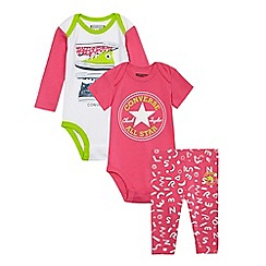 Converse - Baby girls' pink logo printed bodysuits and leggings set