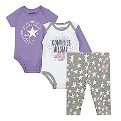 Converse - Pack of two baby girls' assorted printed bodysuits with leggings