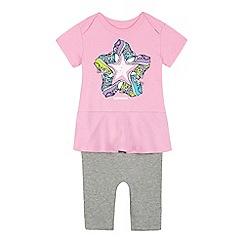 Converse - Baby girls' pink trainer logo print mock romper suit
