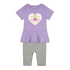 Converse - Baby girls' purple heart print mock romper suit