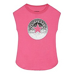 Converse - Girls' pink logo applique top