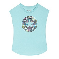 Converse - Girls' light turquoise logo print top